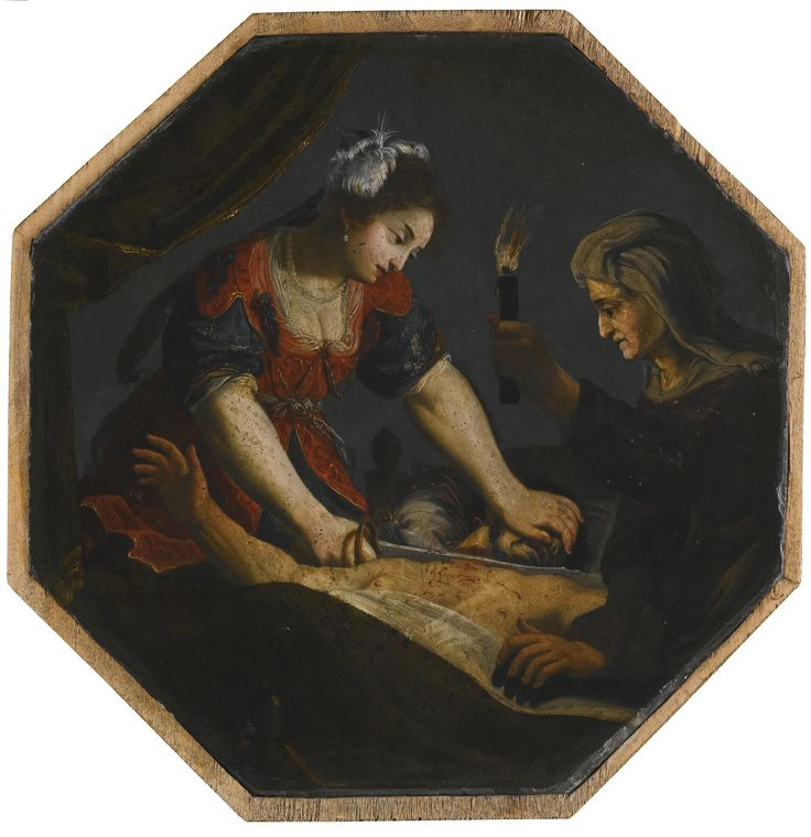 Circle of Jacques Stella JUDITH AND HOLOFERNES oil on slate, octagonal 37.5 by 38.6 cm.; 14 3/4  by 15 1/8  in.: