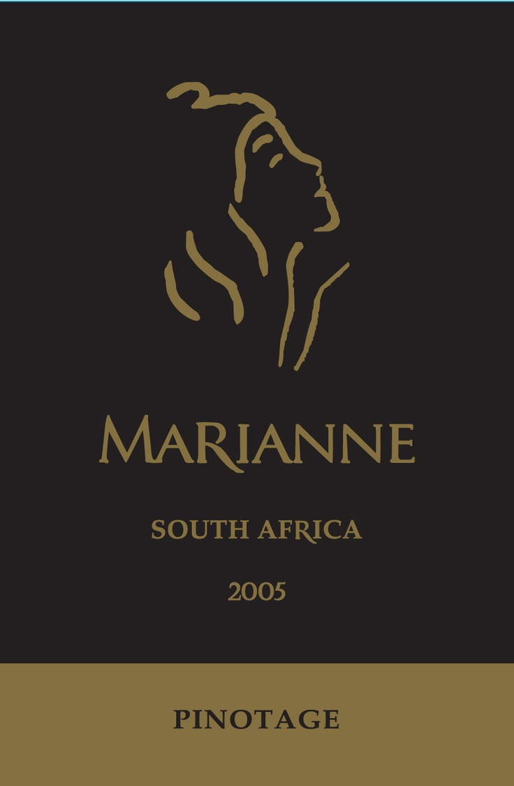 Wine.  Wine Label.  South Africa.    Marianne Pinotage 2005 - Stellenbosch.    Berries, berries & then some.  Hints of liquorice.  Quintessentially French, proudly South African!    A Double Gold medal and best pinotage in show for this 2005 stunner