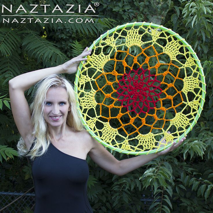 DIY Free Pattern and YouTube Video Tutorial for Crochet Mandala Dream Catcher with Hula Hoop for Indoor Decoration or Outdoor Yarn Bombing Based Upon Vintage Doily by Donna Wolfe from Naztazia