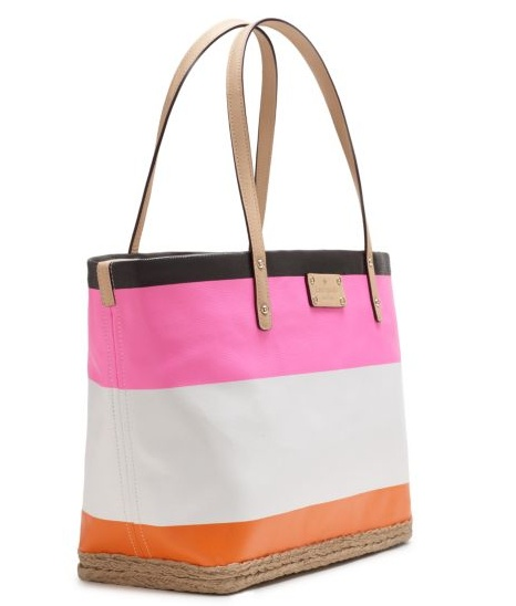 Pink and orange handbag from Kate Sapde.