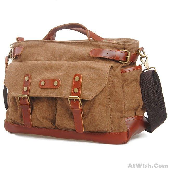 Retro Large Capacity Travel Handbag Thick Canvas Splicing Leather Belt Laptop Shoulder Bag