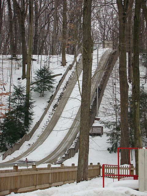 Dear to my heart---The Chalet Toboggan Chutes: The Chalet is located in Strongsville, Ohio just 20 minutes from downtown Cleveland. The Chalet Toboggan Chutes are the only public ice chutes in Ohio and are open the day after Thanksgiving through the first weekend of March.