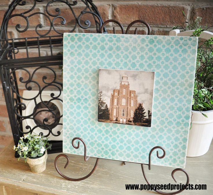 Layered Plaque.  DIY craft project with LDS Logan Temple.  Scrapbook paper let's you personalize it for any living space.  PERFECT Super Saturday Craft idea.