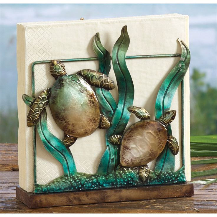 Sea Turtle Napkin Holder Will Complete That Beach Kitchen Or Bar Look.  Features A Two Seaturtles Swimmimg Through The Coral. Bring Function And  Artful Touch ...