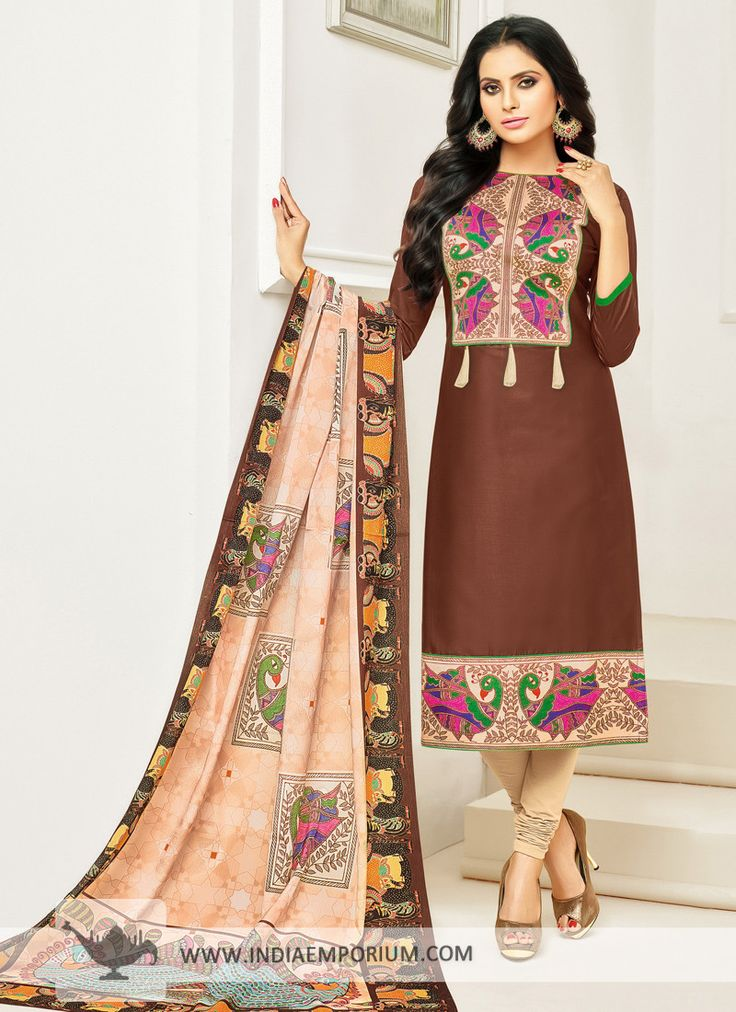 Dazzling Brown Cotton Printed Churidar Suit