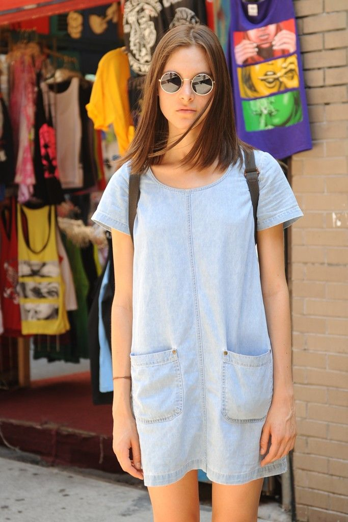 Light denim dress in the summer, pair with leggings and a cardigan for fall