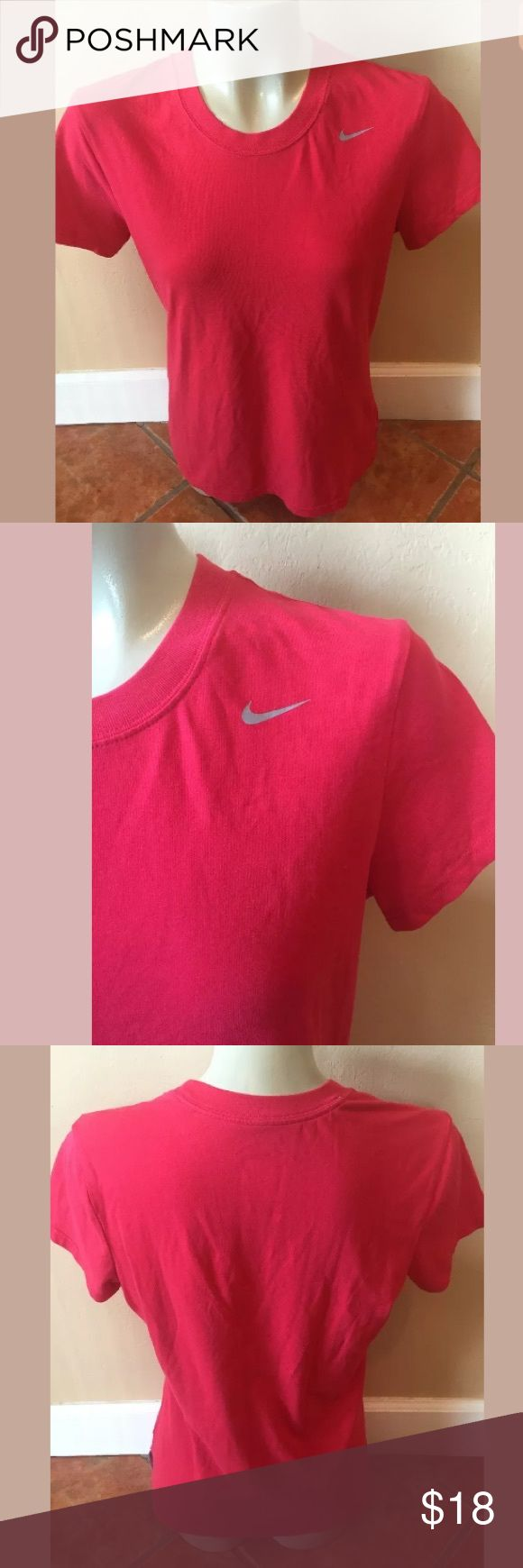 NIKE Dri Fit Cotton Tee Shirt Red Women's Exercise NIKE Dri Fit Cotton Tee Shirt Red Women's Exercise Athletic Shirt  Size Medium M Preowned Nike Tops Tees - Short Sleeve