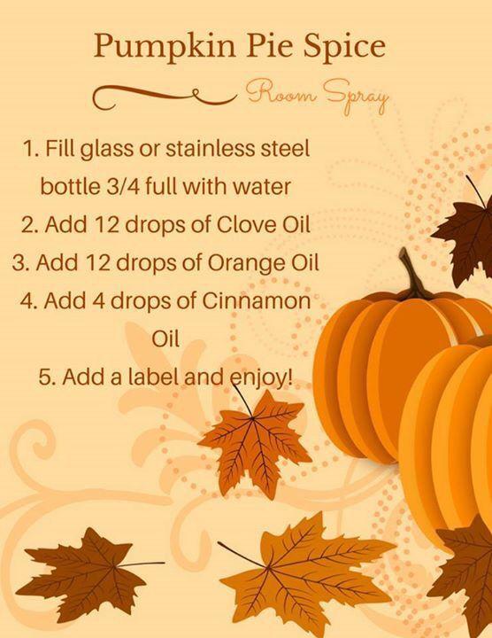 Pumpkin pie spice room spray! #fall #essentialoils: