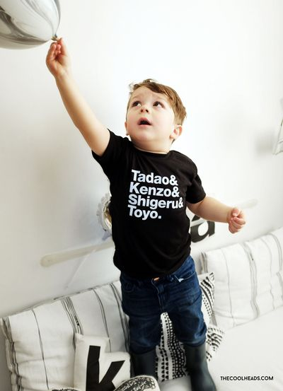 Lil' Mr. J of #thecoolheads in Tiny Modernism's Tadao & Kenzo & Shigeru & Toyo tee. The favourite Japanese Architects. Photography:thecoolheads.com