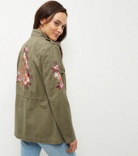 Khaki Floral Embroidered Parka Jacket  | New Look