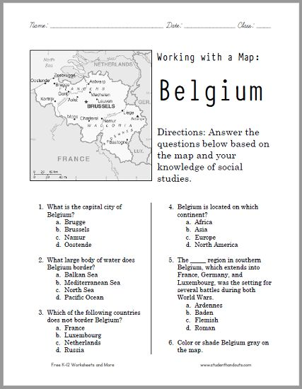 Here 39 S A Free Printable Map Worksheet On Belgium It 39 S