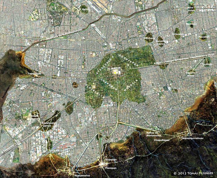 LOCALIZACIÓN DE LA ISLA DE TENOCHTITLAN, Mapa Comparativo de la traza urbana de la Ciudad de México 1519-2012