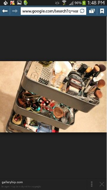 Ikea Raskog cart to organize cosmetics! Love it! And the cart comes in dark grey, turquoise, and antique white! Turquoise matches my daughter's Tiffany Blue room and dark grey goes with my grey and coral room. Perfection!