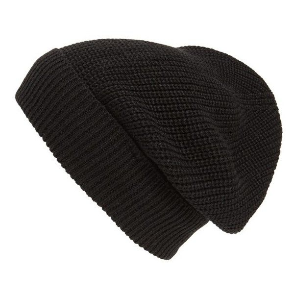 Phase 3 'Stand Up' Basket Knit Slouchy Beanie found on Polyvore featuring accessories, hats, beanies, headwear, black, knit beanie hats, black beanie, beanie hat, slouch beanie hats and slouch hat