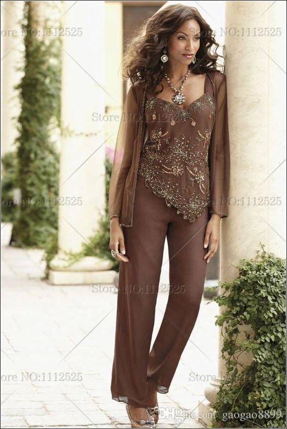 Brown Delicate Chiffon with Beading Mother Of The Bride Pants Suit with Jacket Custom Make Plus Size Cheap Women&039;s Formal Occasion Suit