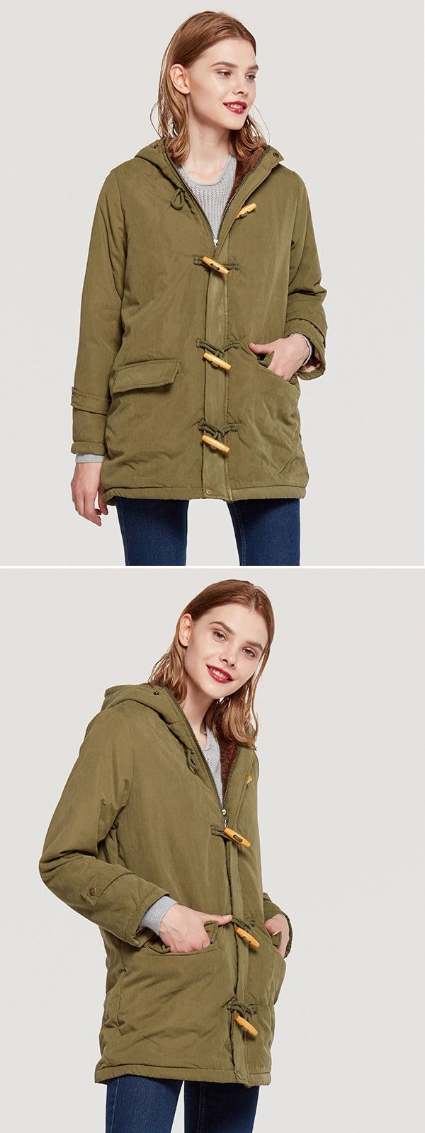Vinfemass Buttons Pockets Fitted Plus Size Hooded Cotton Padded Coat