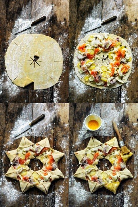 Idée présentation. Comment faire une pizza étoile. - Star pizza - Recipe in English...