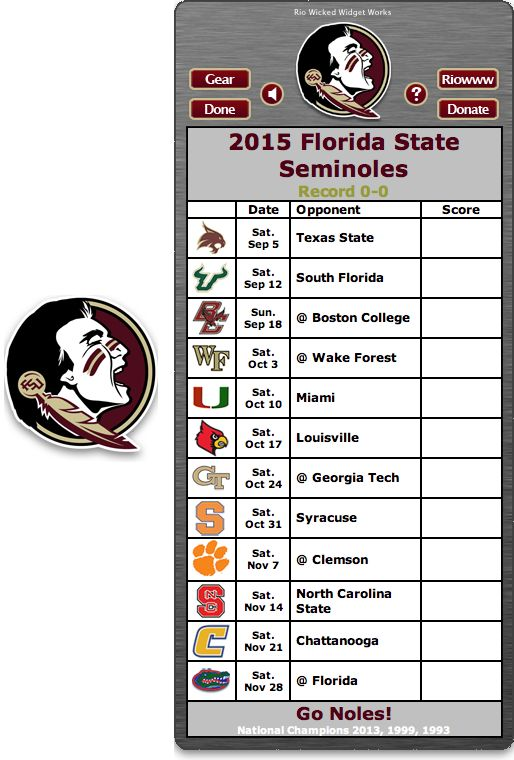 Free 2015 FSU Seminoles Football Schedule Widget - Go Noles! - National Champions 2013, 1999, 1993  http://riowww.com/teamPages/Florida_State_Seminoles.htm
