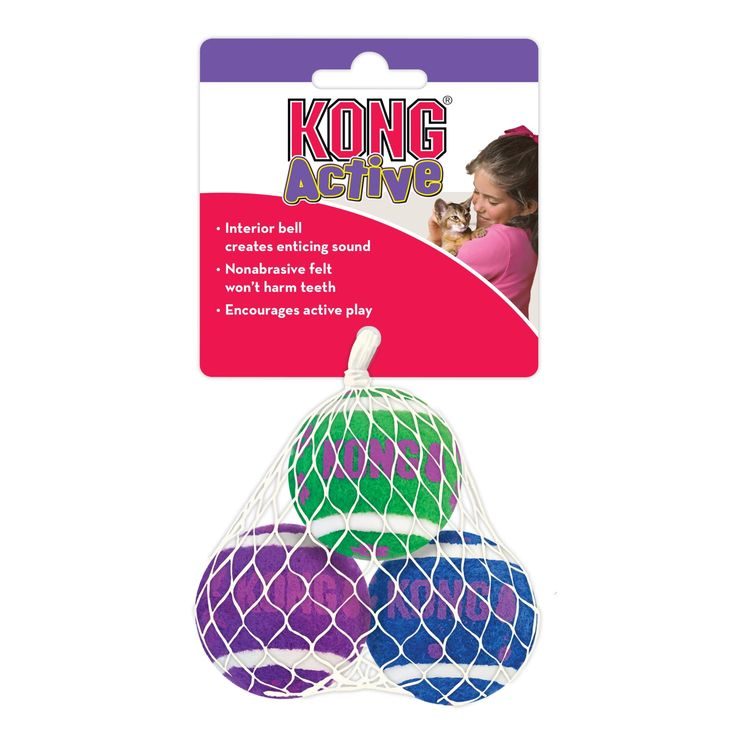 ACTIVE TENNIS BALLS WITH BELLS - KONG Active cat toys promote healthy exercise and fulfill cats' instinctual desires to chase, hunt and capture
