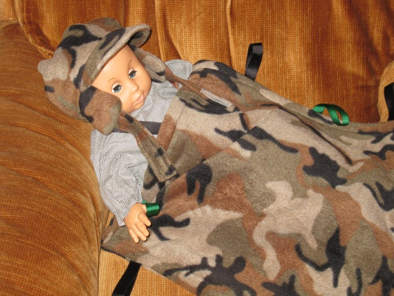 cute camo baby hat and tag blanket set by