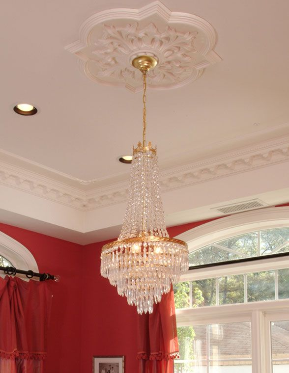 White Ceiling Medallion And Crystal Chandelier