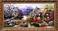 Красивая DIY ручной вышивки крестом вышивка комплект садовый домик дизайн украшения дома 69 * 37 см вышитые ткани