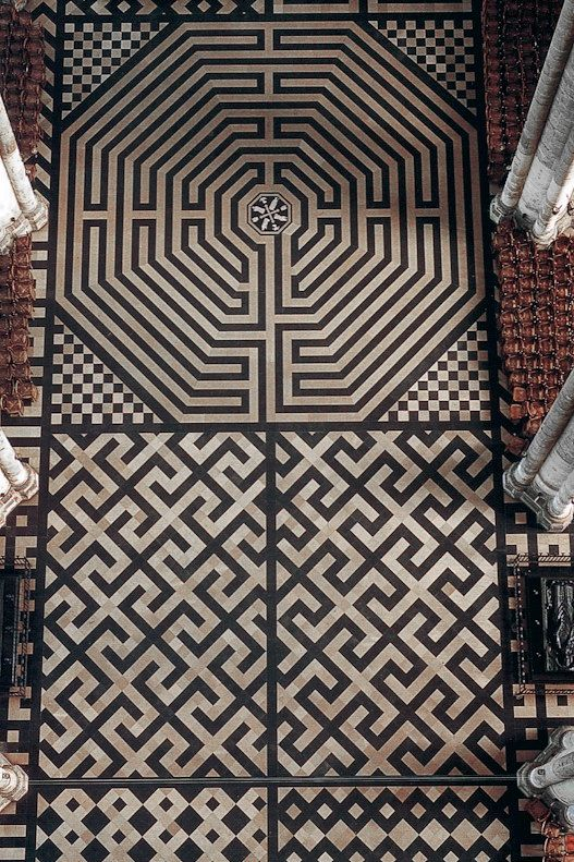 Amiens Cathedral Labyrinth Black And White Swastikas