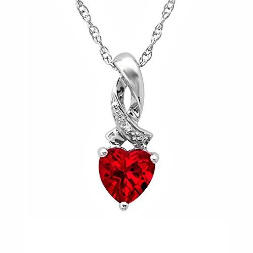 Heart Shape Created Ruby and Diamond Pendant-Necklace in Sterling Silver 925 http://amzn.to/2kM9K0O #amazon #jewel #jewelry #ValentinesDay #fashion