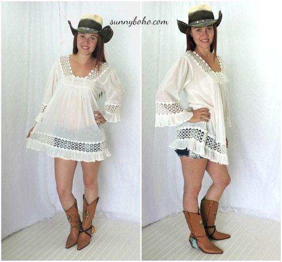Boho white tunic dress / smock S M L white by SunnyBohoVintage