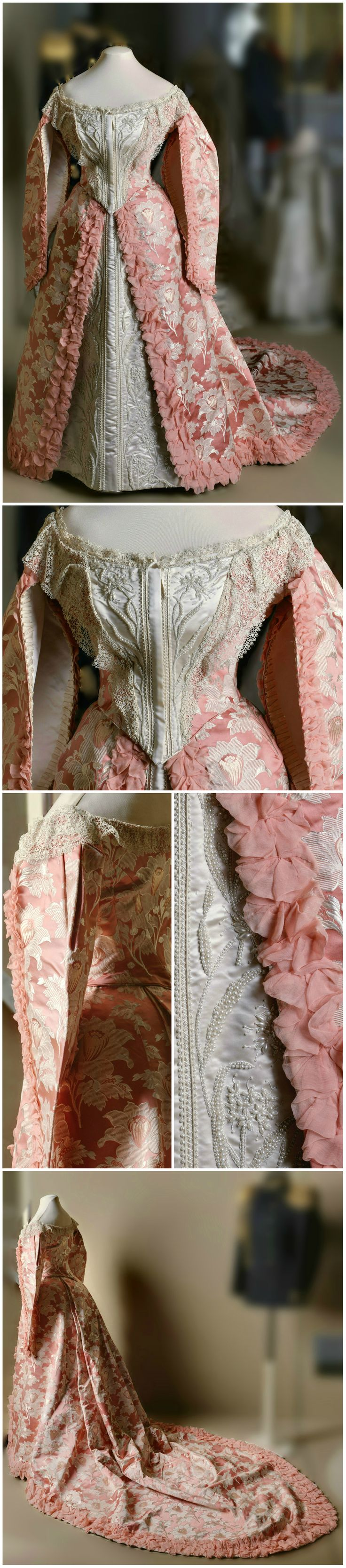 Ceremonial court dress, St. Petersburg, Russia, late 19th to early 20th century. Silk, satin, artificial pearls. State Hermitage Museum (link: http://hermitage.guide/costume/costume1.html)