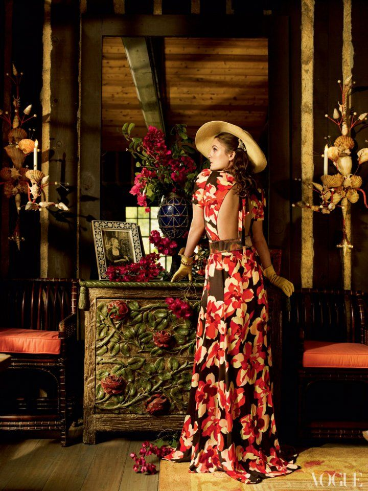 Drew Barrymore wearing a floral inspired dress by Gucci.