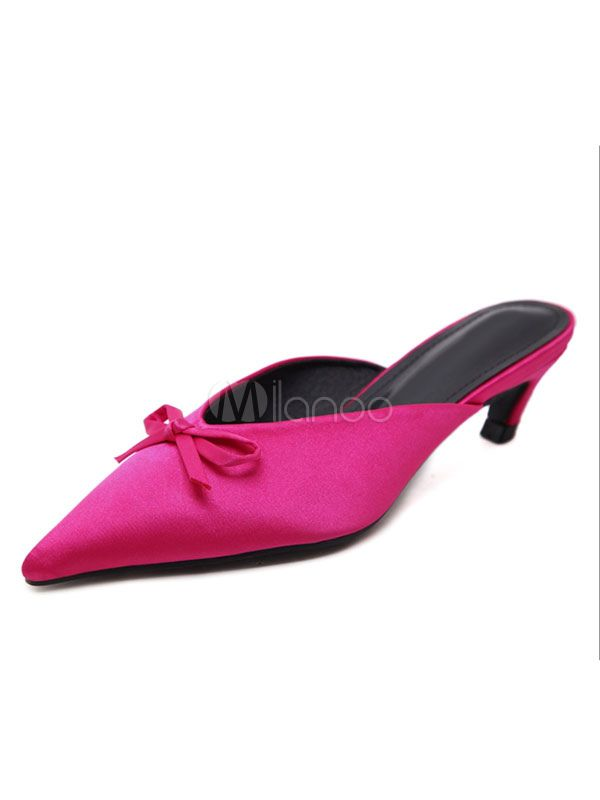3168bc07f9 Fuchsia Mules Shoes Pointed Toe Bow Kitten Heel Backless Women's Slip On  Mules