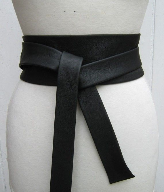 c077223995909d Black leather narrow obi wrap belt by elizabethkelly on Etsy