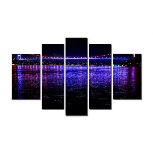 5 Parça Kanvas Tablo - İstanbul Boğaz Köprüsü- 5B330905 Fabulous paintings for home decoration ... Istanbul Bosphorus Bridge