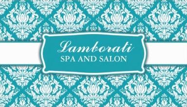 Blue Elegant Professional Damask Floral Pattern Salon Business Card Template