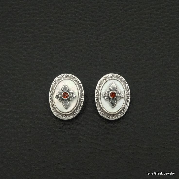 NATURAL MOTHER OF PEARL & GARNET MEDIEVAL 925 STERLING SILVER CLIP EARRINGS #IreneGreekJewelry #Stud