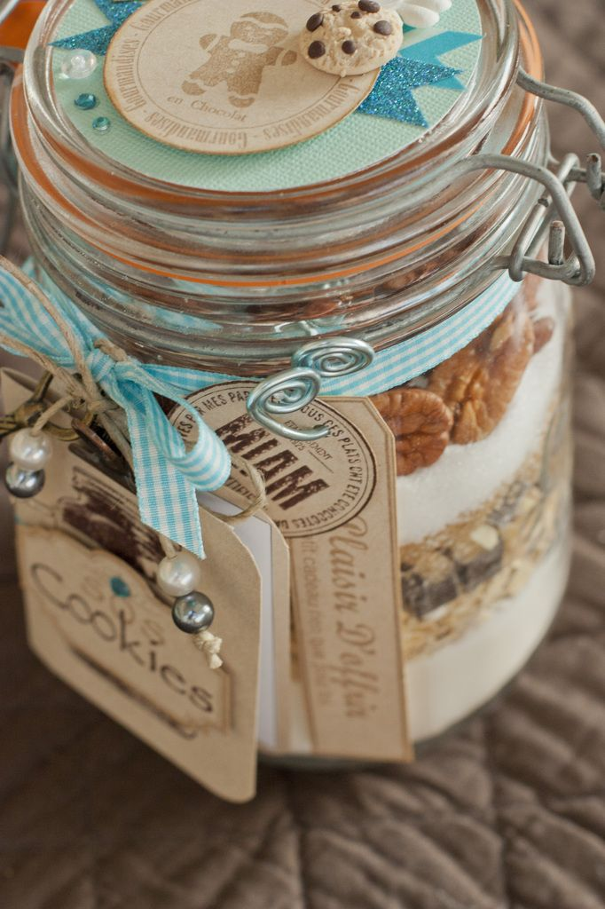 Beautifully 'wrapped' Cookie Mix in a Jar