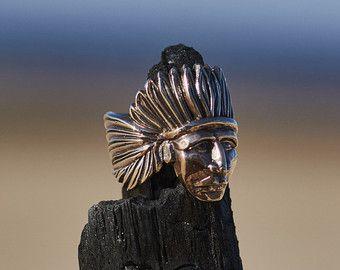 Anillo de indio, indio americano, indios anillo para hombres, hombres anillo indio, indio anillo para las mujeres, mujeres anillo indios, jefe indio Biker anillo