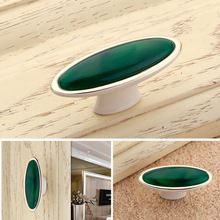 Vintage Green White Oval Door Handles Kitchen Shoe Cabinet Cupboard Wardrobe Drawer Closet Locker Handle Pull Knobs Furniture(China (Mainland))