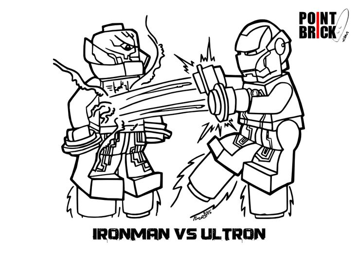 disegno da colorare per bambini lego iron man vs ultron