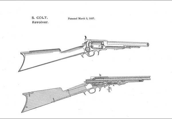 Patent drawings for the Colt revolving rifle | Cafe, te ...