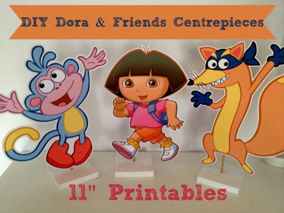 "Dora the Explorer, Boots & Swiper 11"" Centerpieces Digital Printable, DIY at home"
