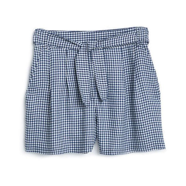Check Shorts ($18) ❤ liked on Polyvore featuring shorts, checkered shorts, bow shorts, mango shorts and checked shorts