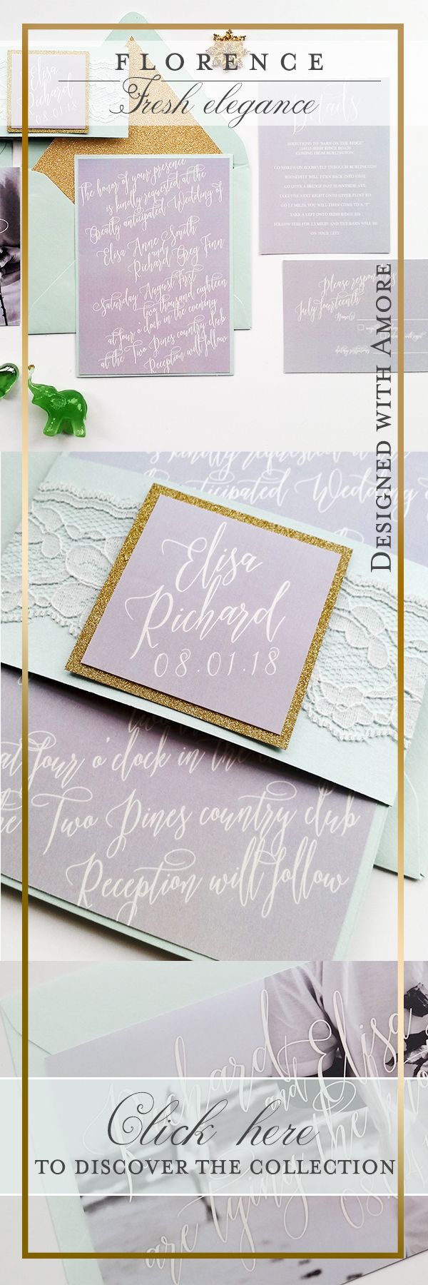 Calligraphy Wedding Invitations   Modern Wedding Invitation Sample  {Florence Design New Spring Summer 2016 Collection}