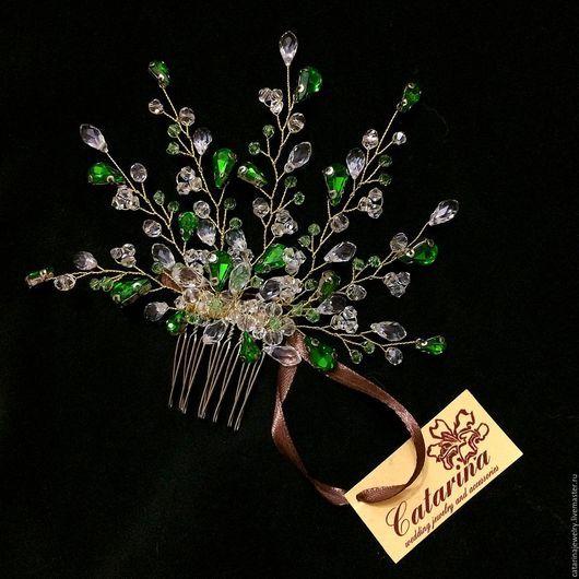 Свадебные украшения ручной работы. Ярмарка Мастеров - ручная работа. Купить Свадебное украшение для волос. Handmade. Зеленый, украшение для волос