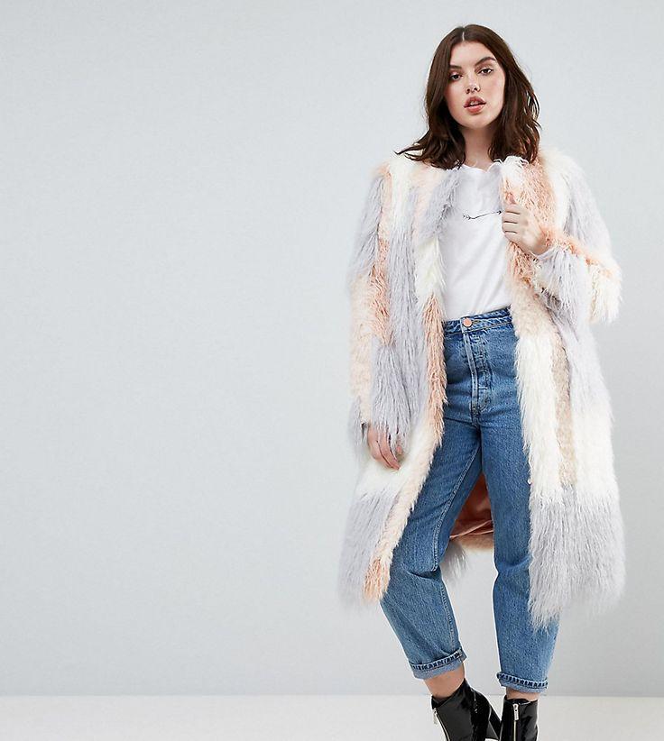 ASOS CURVE Patched Faux Fur Mongolian Coat - Pink