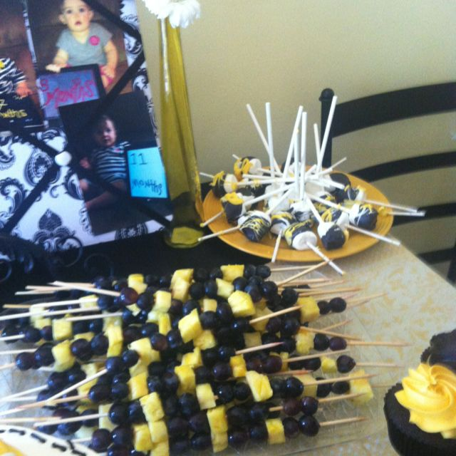 Bumble bee party - fruit sticks I like the idea of grapes and pineapple as fruit sticks...@Rayanna Gaumond Padgett