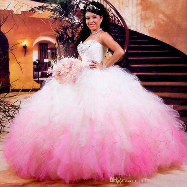 2016 New Elegant Cheap Hot White And Pink Ball Gown Quinceanera Dresses Beaded…