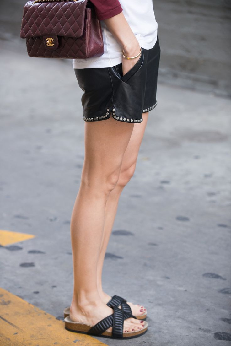 Wearing #aninebing leather shorts & Ray sandals