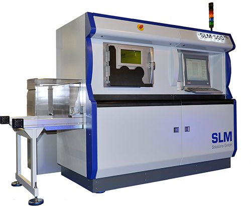 SLM® 500 HL  Selective Laser Melting System 500 HL provides a build chamber of 500 x 280 x 325 cmm and a unique double beam technology. Each of the two fi bre lasers (400 +1000W) operate on the powder bed by a 3D scanning unit. Two of these units are working at the same time. #3Dprinter